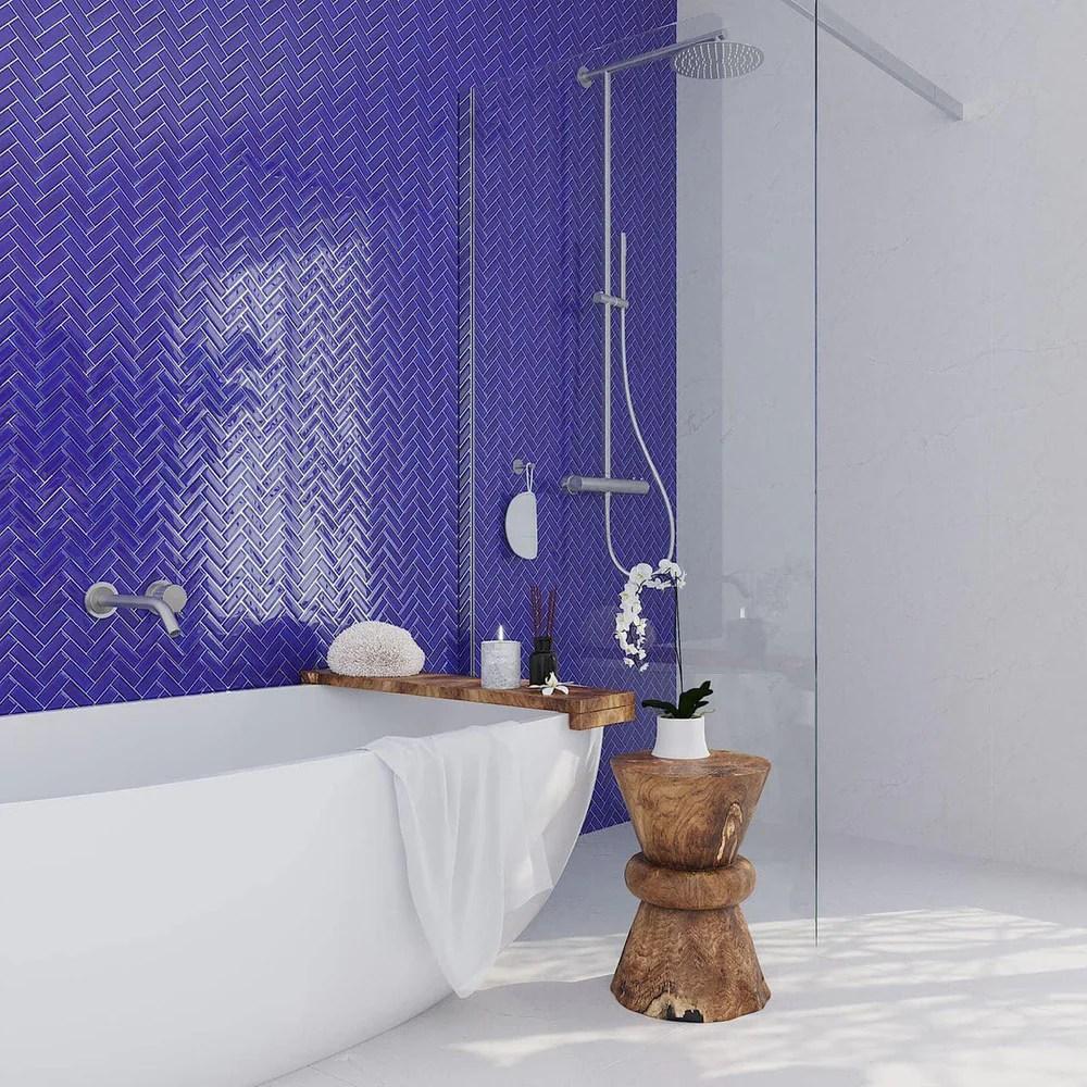 cobalt blue herringbone glass tile