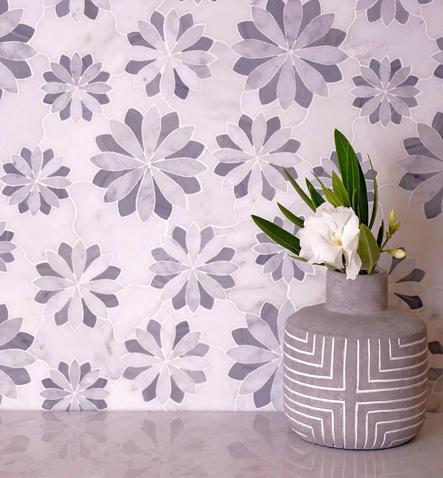 floral eternity white carrara bardiglio waterjet mosaic tile