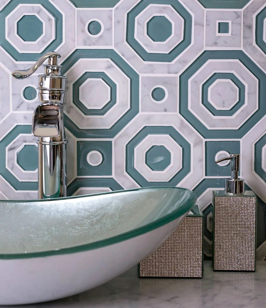green hex and square carrara glass waterjet tile