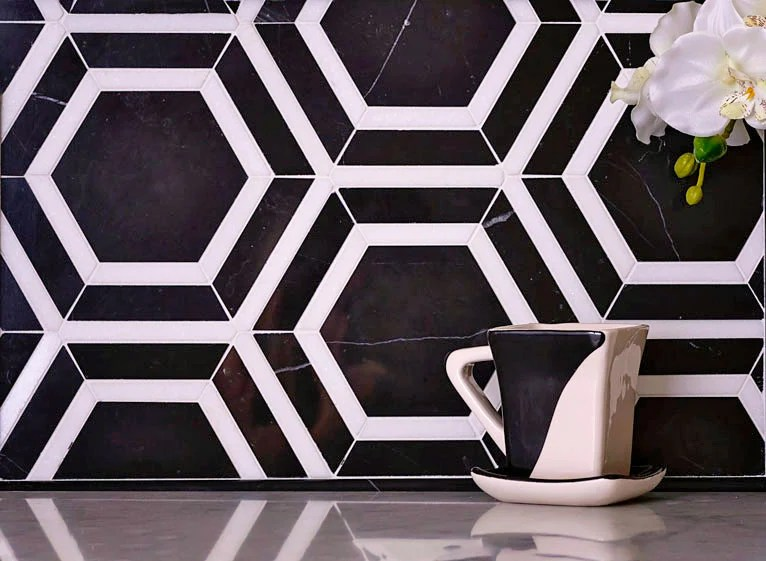 nero marquina and thassos white 6 inch hexagon marble mosaic tile