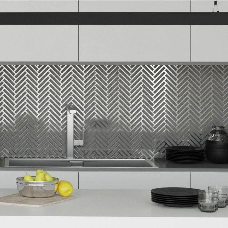 white deco herringbone glass mosaic tile