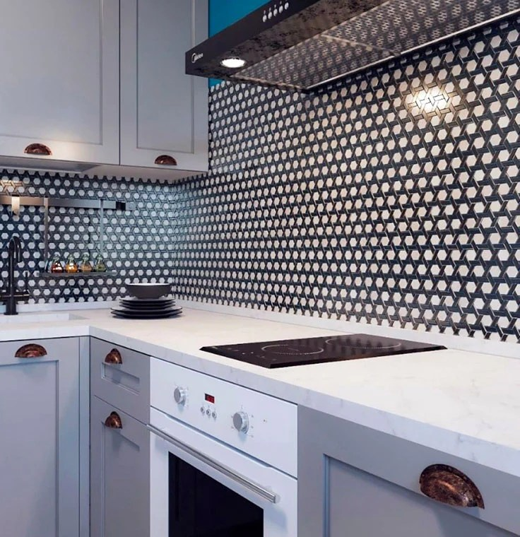 black and white weaved hexagon glass mosaic tile
