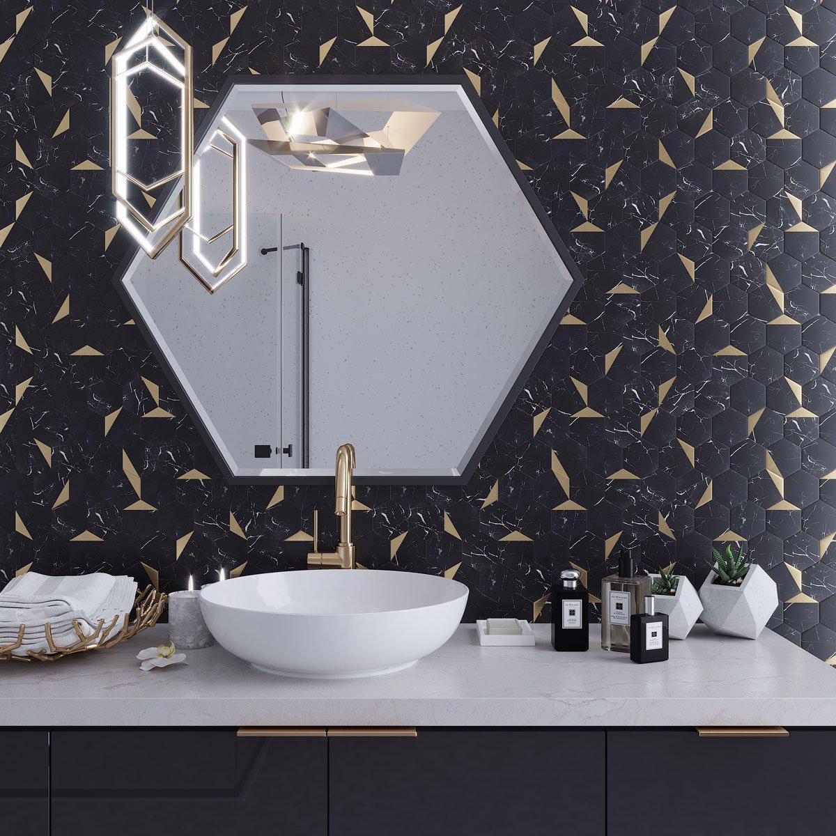 black and gold hexagon peel and stick tile