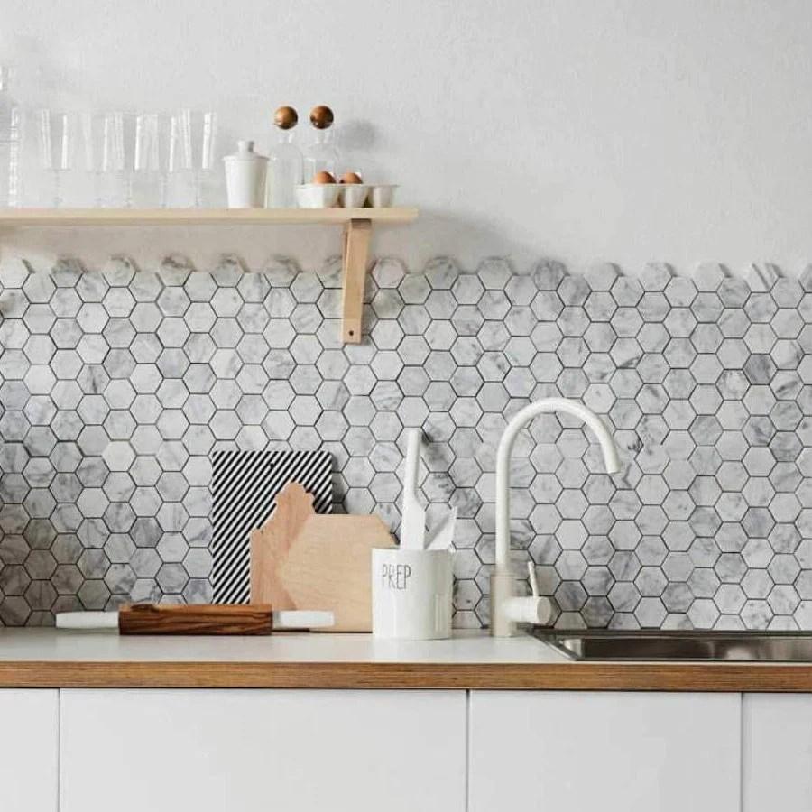 4 inch white carrara hexagon honed marble mosaic tile
