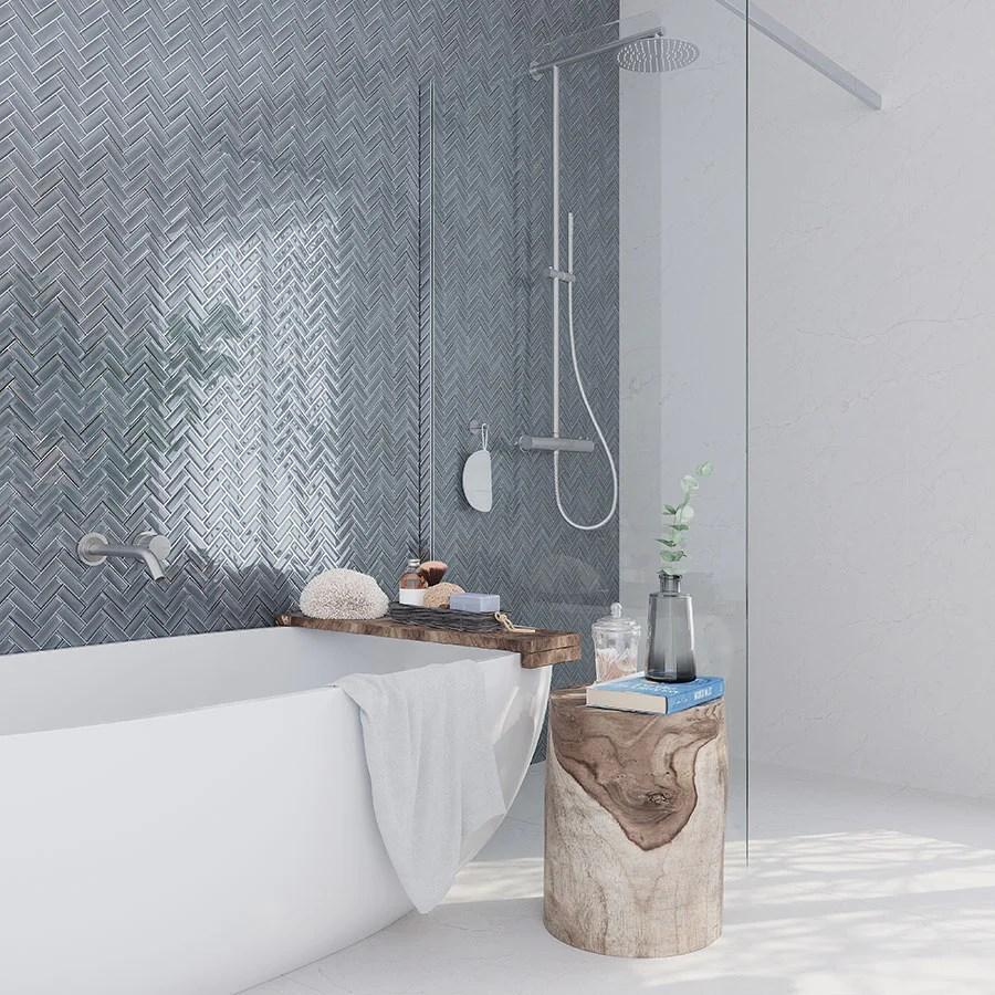cool gray herringbone glass tile