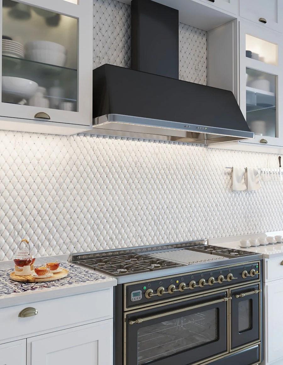 duomo 3d diamond carrara mosaic tile