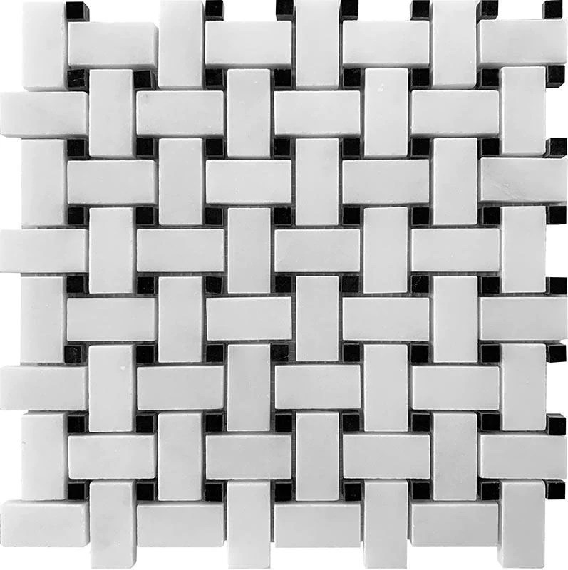 honed white marble basket weave tile with nero marquina dots