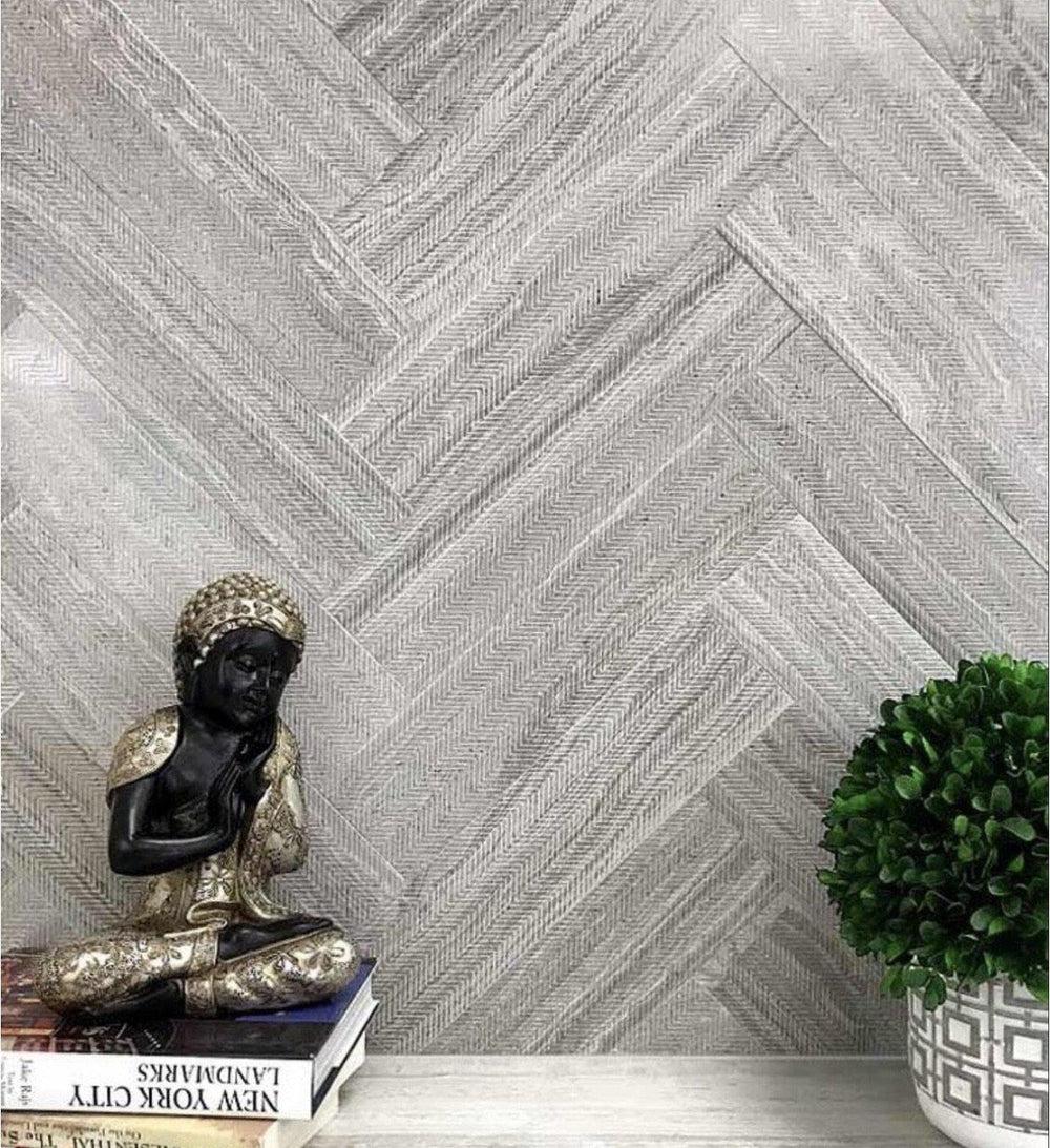 grey limestone chevron etched subway tile