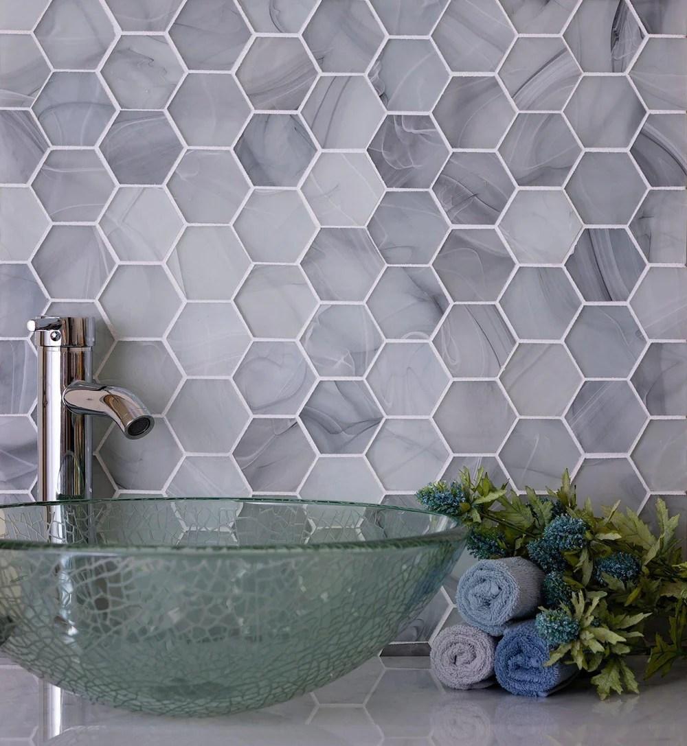 ocean glass hexagon grey mosaic tile