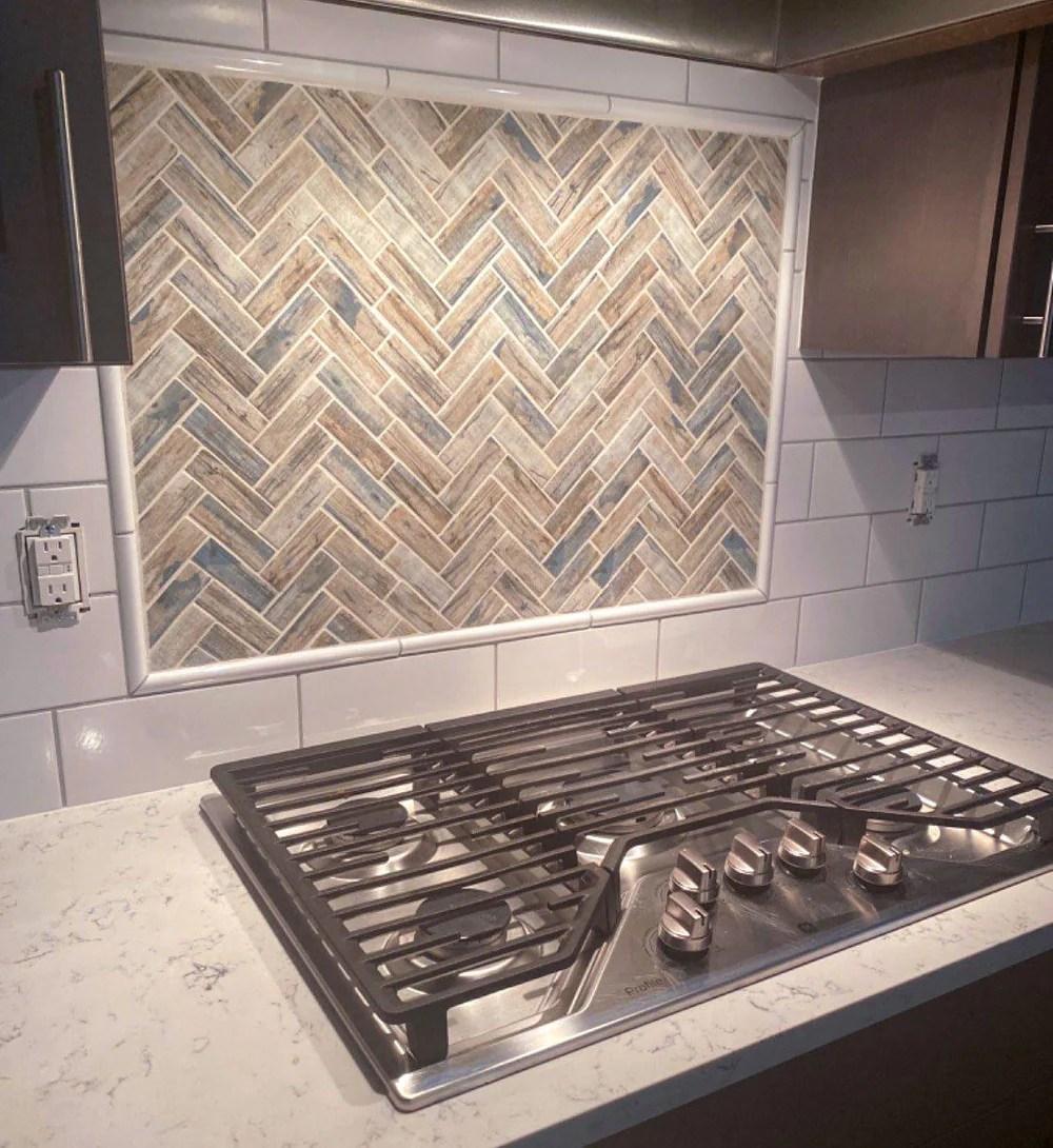 recycled glass herringbone mosaic tile