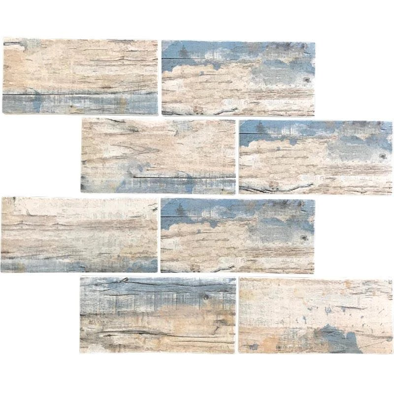 blue wood recycled glass subway mosaic tile