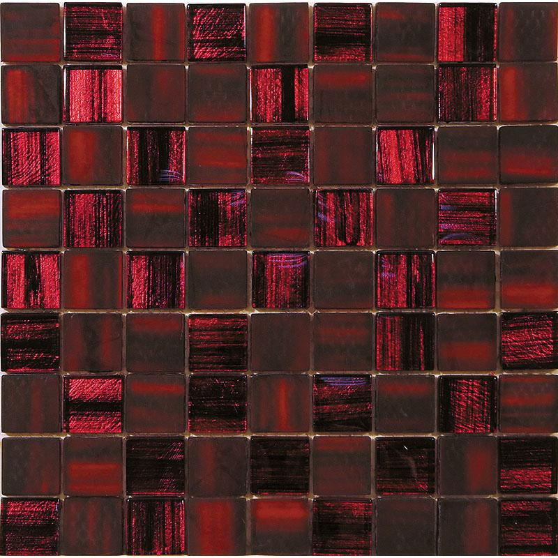 red foil glossy and frosted square mosaic tile