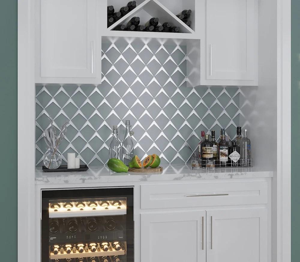 sage frost diamond glass mosaic tile