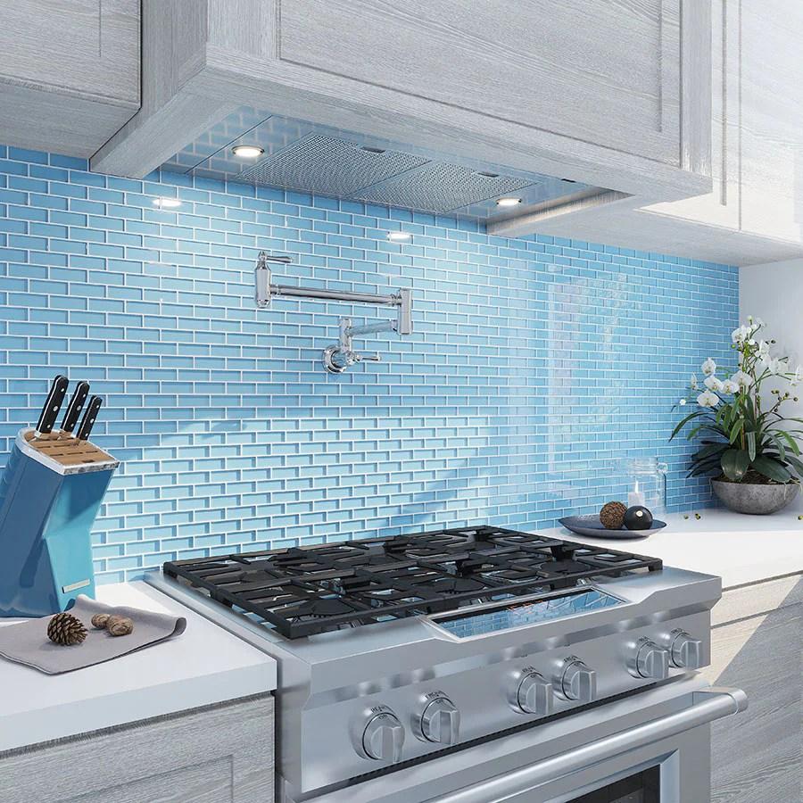 sea blue glass brick tile