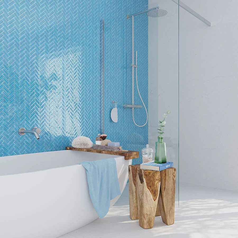 sea blue herringbone glass tile