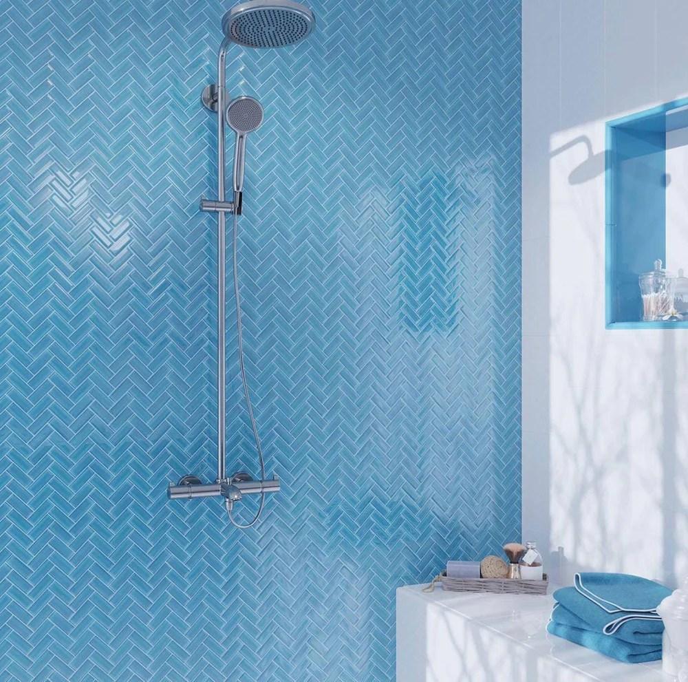 sky blue herringbone glass tile