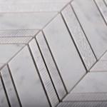 11 X 14 Textured Carrara Chevron Marble Mosaic Tile
