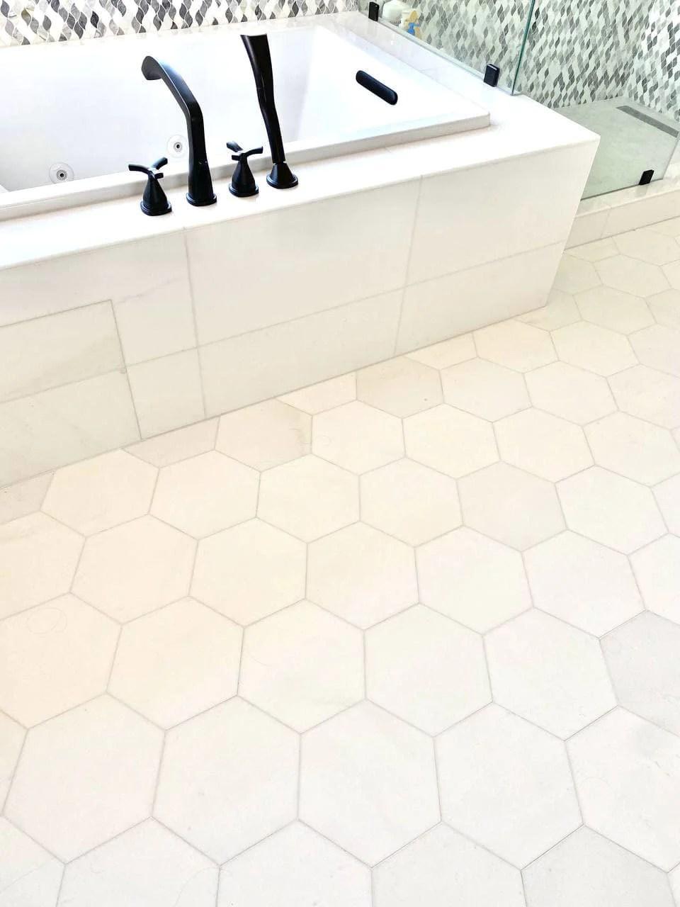 10 hexagon thassos white honed tile club