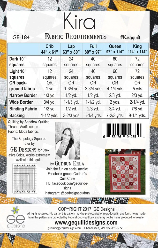 Pattern King Kits Quilt Size