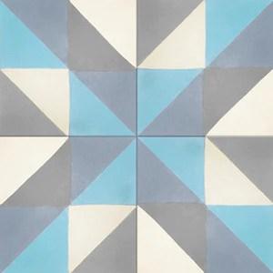 geometric multi colour concrete tile
