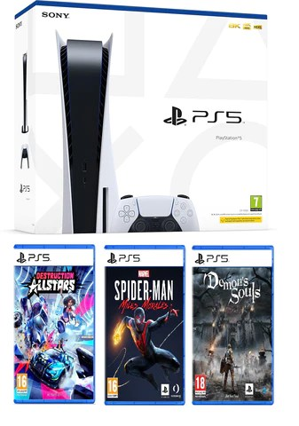 PlayStation 5 Console + Demon Souls + Destruction Allstars + Marvel Spider-Man Miles Morales