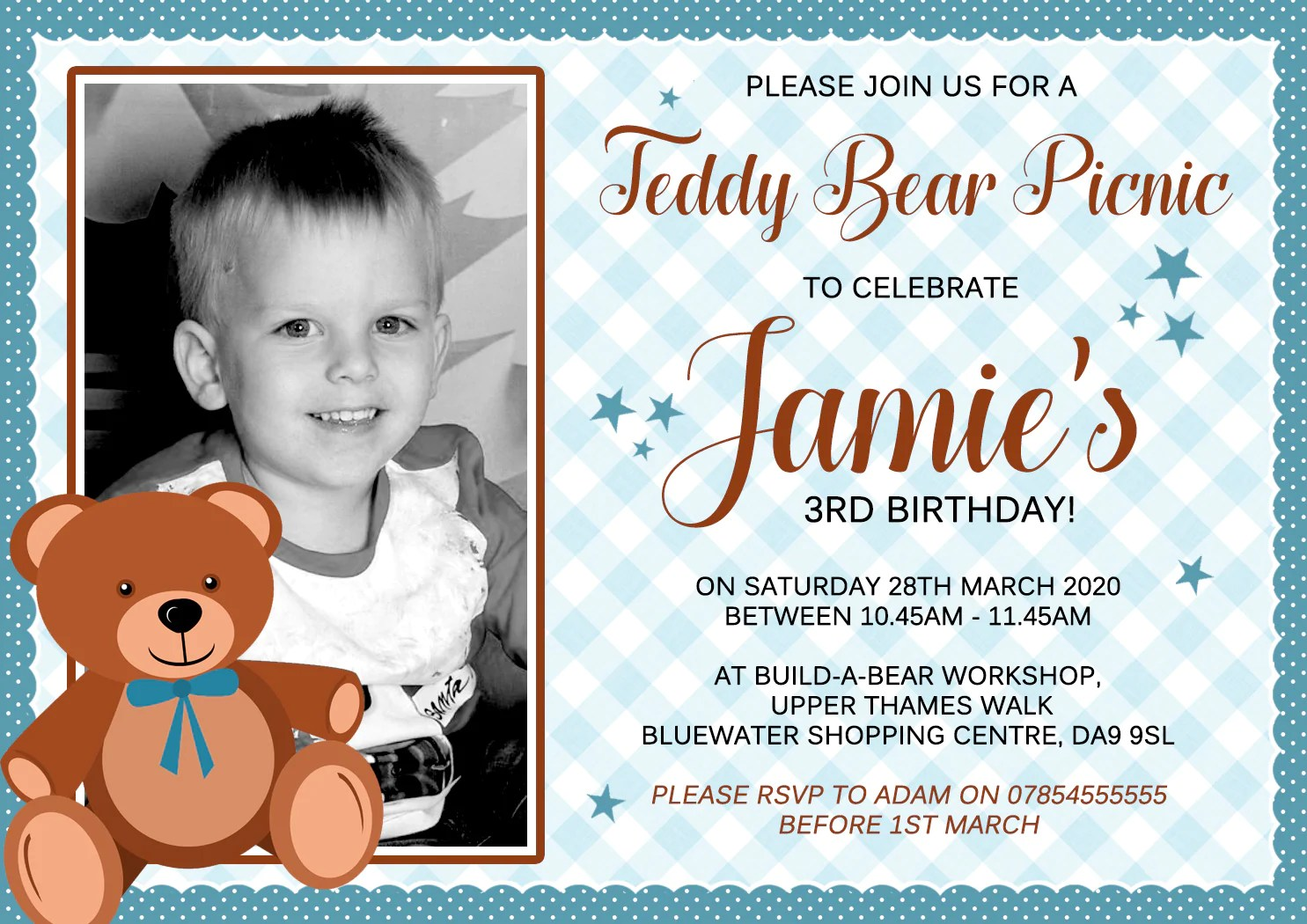 teddy bear picnic birthday party invitations yellowblossomdesignsltd