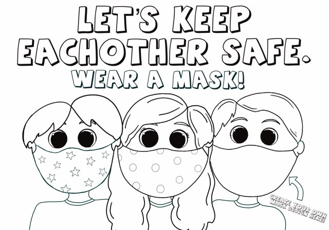 Kids Wearing Face Masks Coloring Page! - Love Woolies