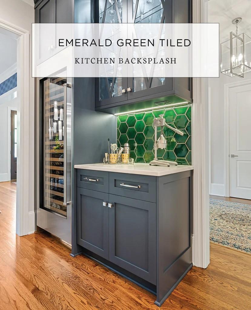 emerald green tile backsplash