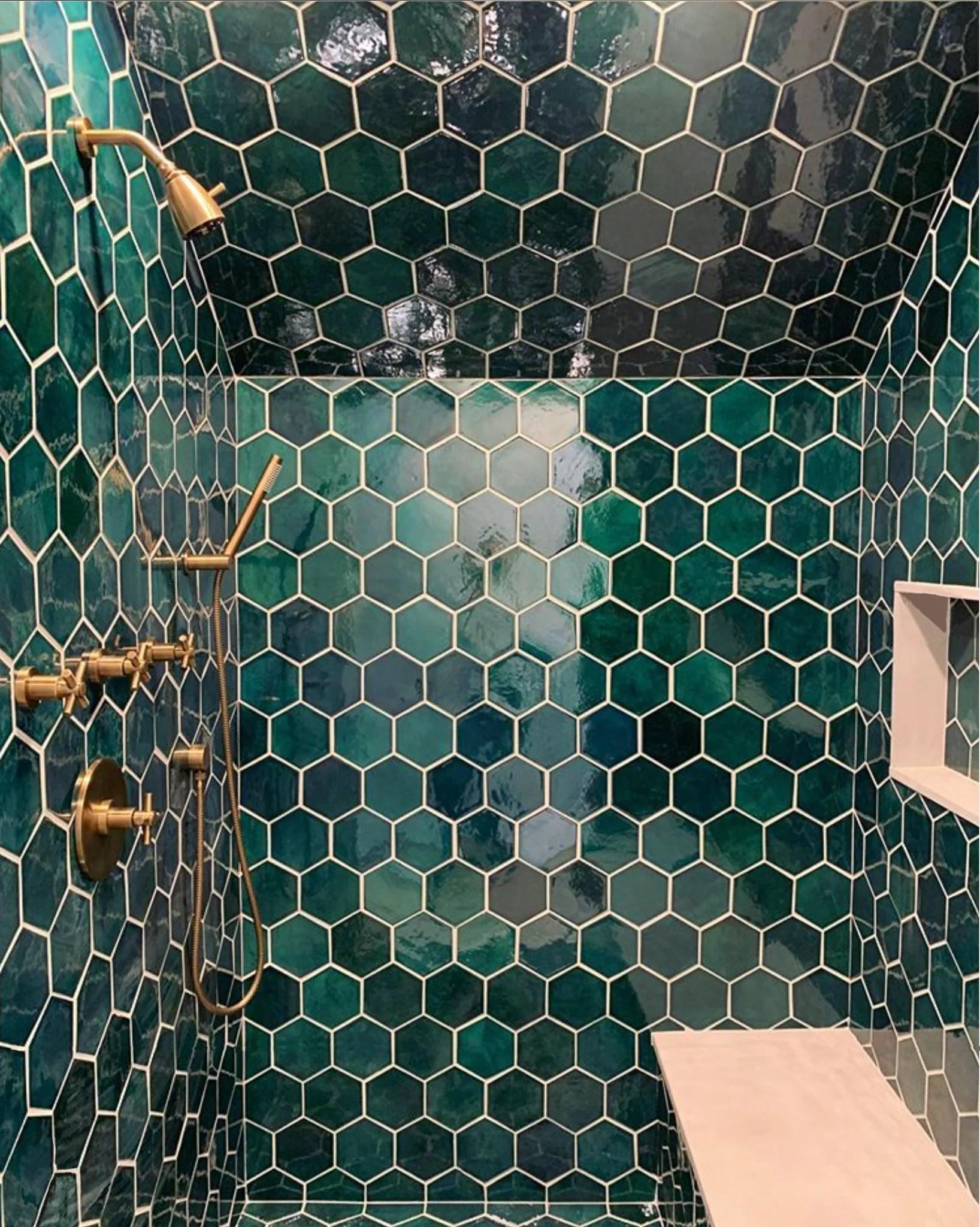 hexagon mosaic tile mercury mosaics