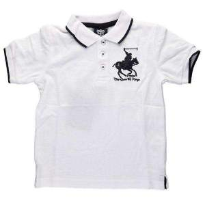 Tricou polo copii 2-6 ani,cu mânecă scurtă şi nasturi. Culori: alb, albastru, bleumarin, gri, roșu. Compoziție: 60% bumbac, 40% poliester.