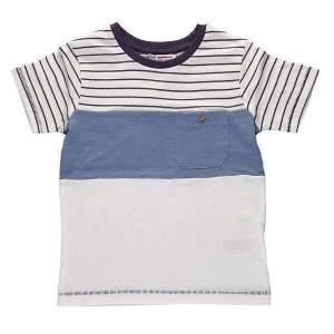 Tricou dungi copii baieti, cu buzunar la piept, din bumbac de calitate superioară. Mărimi pentru 3-13 ani. Culori: alb și bleumarin. Compoziție: 100% bumbac.