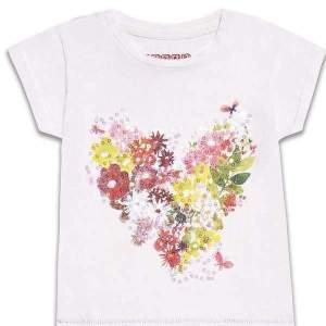 Tricou model floral si paiete fete, din material de calitate superioară. Mărimi pentru 8-14 ani. Culori: alb. Compoziție: 100% bumbac.