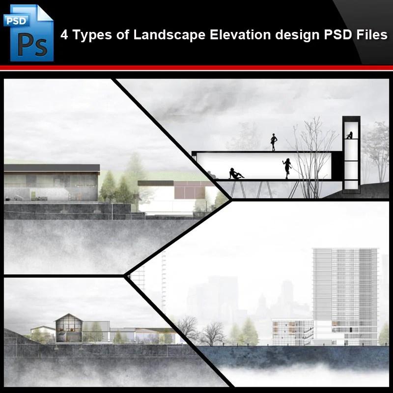 Photoshop Psd Files 4 Types Of Landscape Elevation Design Psd Files