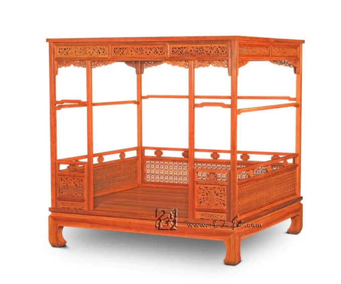 Chinese Classical Canopy bed Queen storage full double Bed