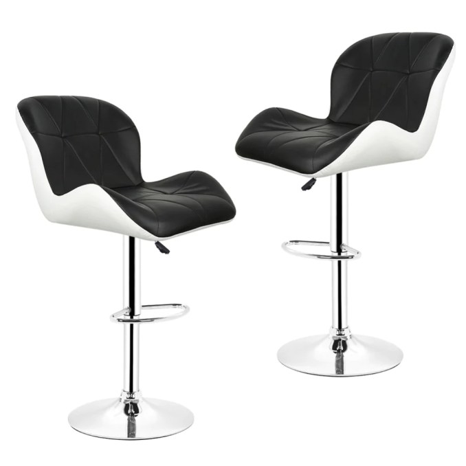 Enjoyable 2Pcs Leisure Synthetic Leather Swivel Bar Stools Chairs Gamerscity Chair Design For Home Gamerscityorg