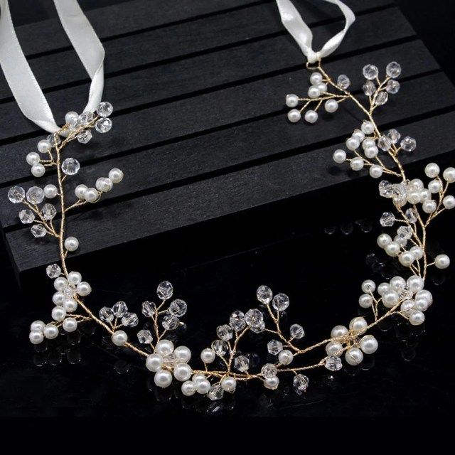 floral gold bridal hair accessories handmade pearl hair jewelry wedding