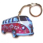 Vw Campervan Keyring Pink Hippy Split Screen Wheelygifts