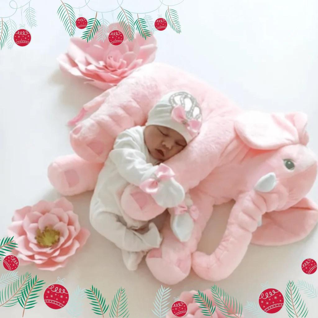 pink plush elephant pillow toy