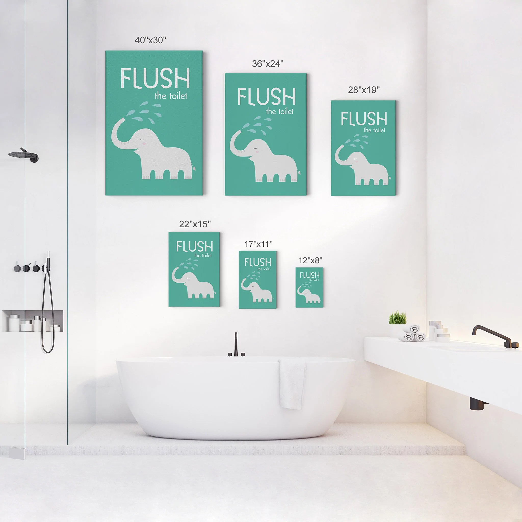 Flush The Toilet Quote Kids Bathroom Wall Decor Elephant Bathroom Wall Smile Art Design