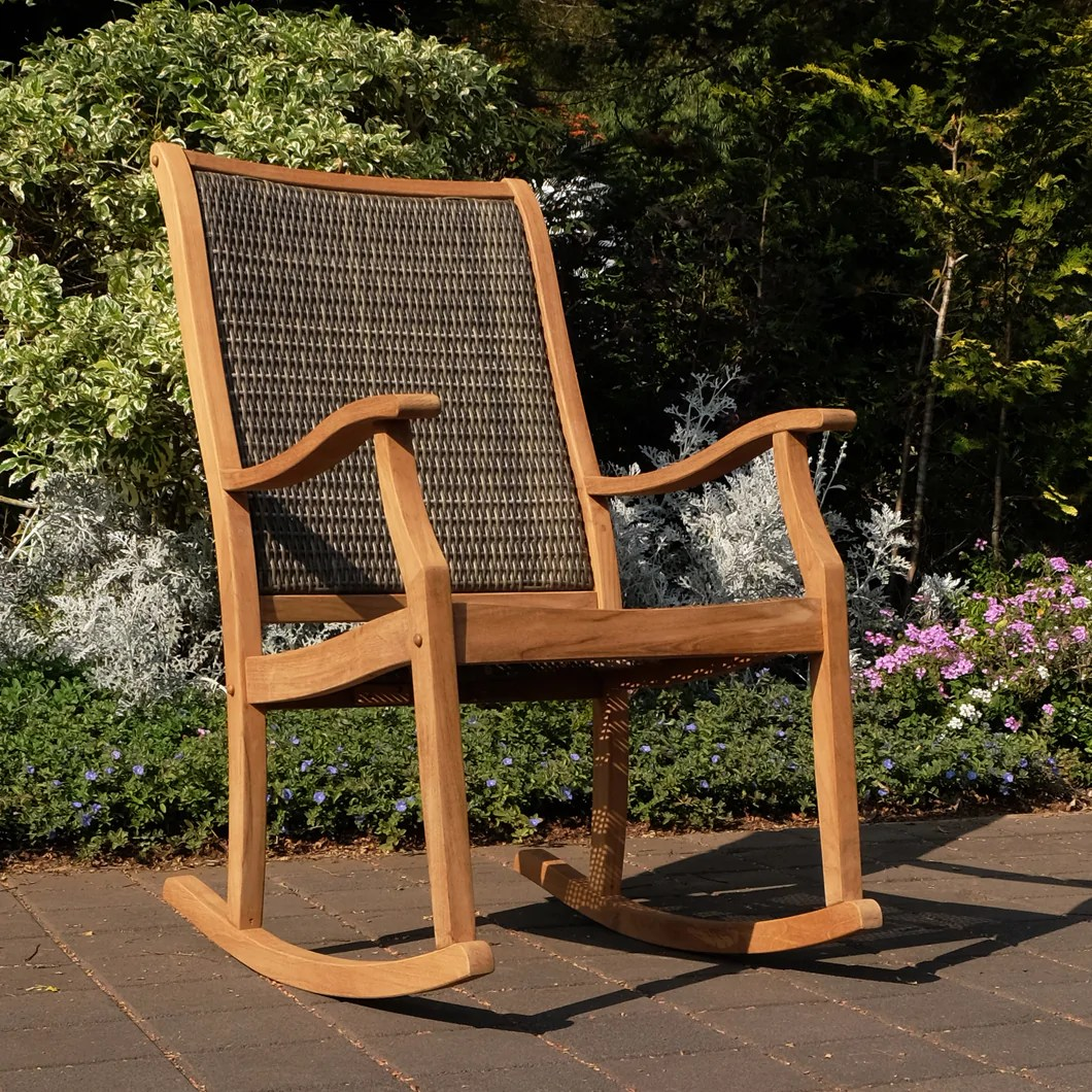 https cambridge casual com products dunham solid teak wood outdoor wicker rocking chair