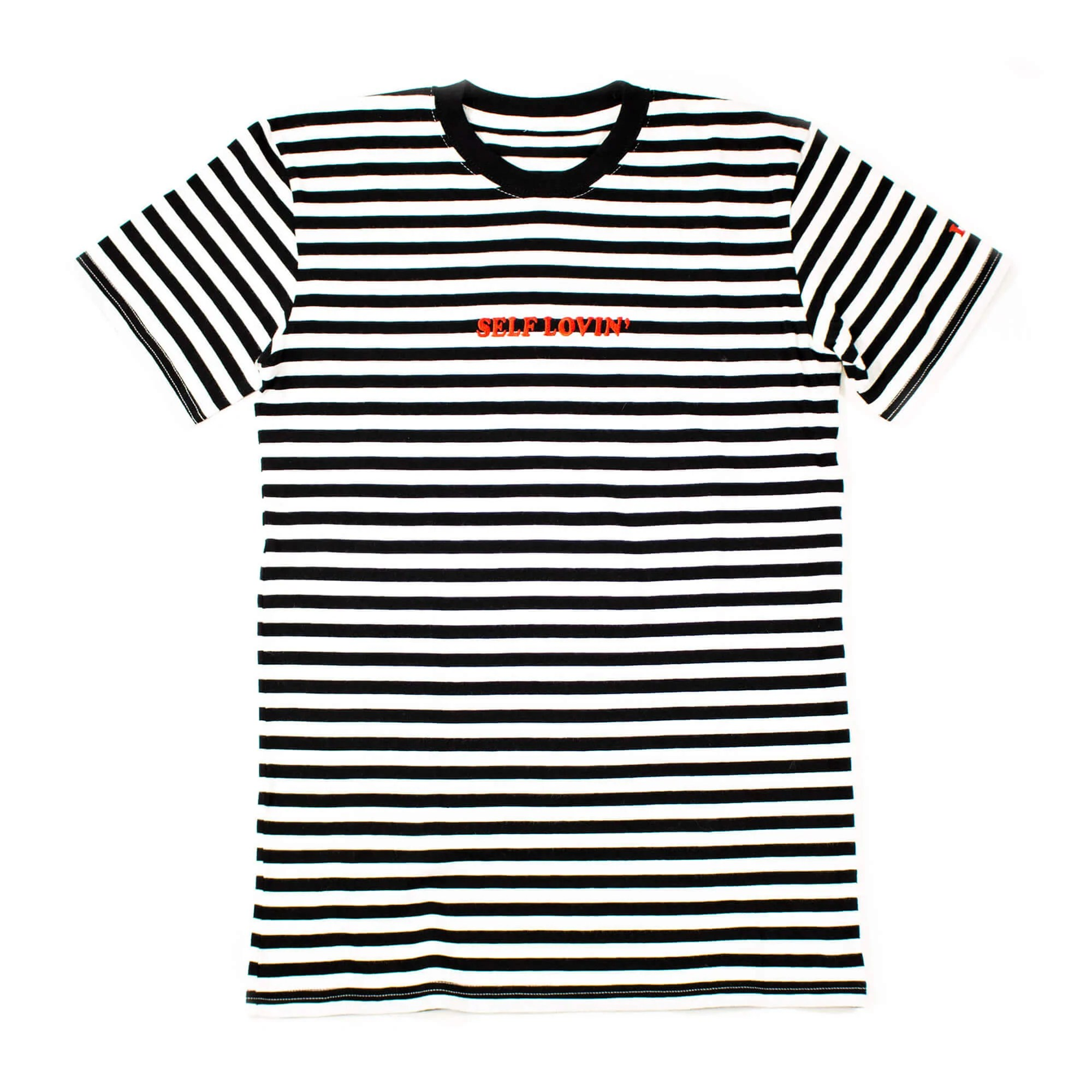 Self Lovin' Striped Tee - Black/White – Liza Koshy