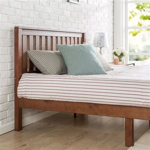 queen mission style solid wood platform bed frame with headboard espresso finish