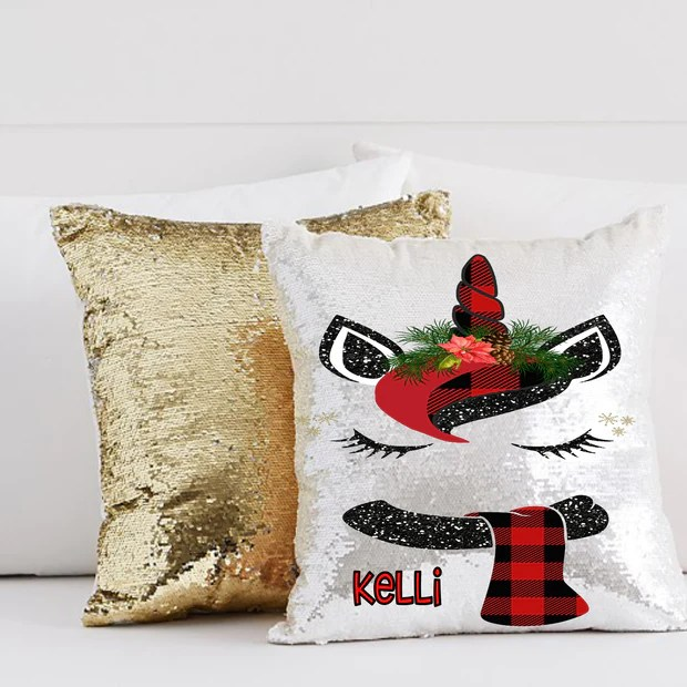 personalized mermaid sequin throw pillow with adorable plaid unicorn