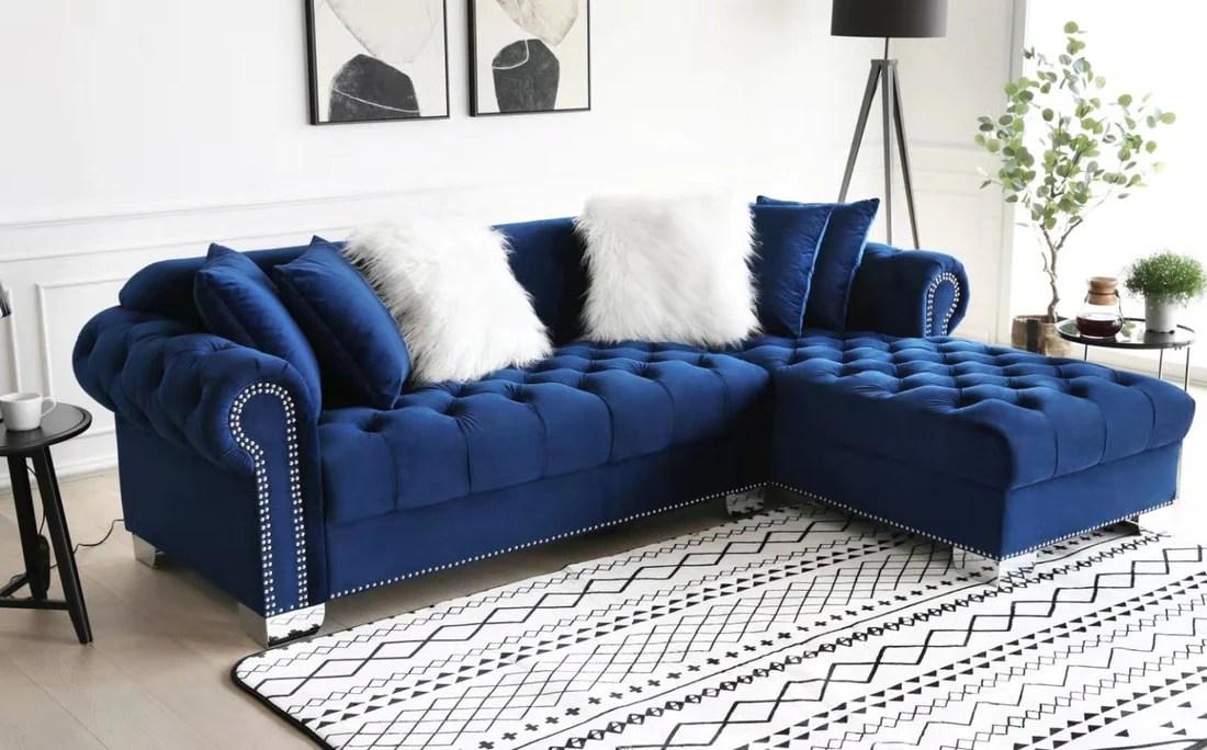 royal blue velvet raf sectional