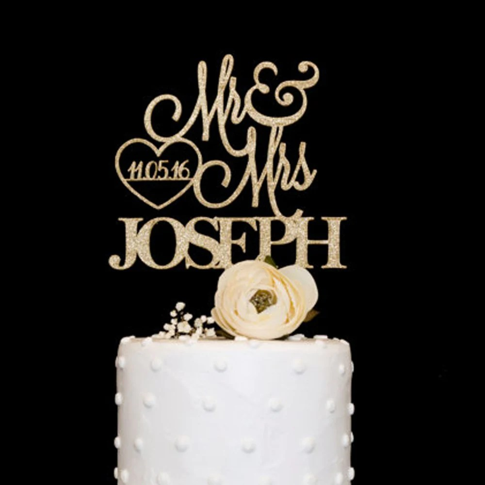 Custom   Personalized Name   Date Wedding Cake Topper     Mkali     Custom   Personalized Name   Date Wedding Cake Topper