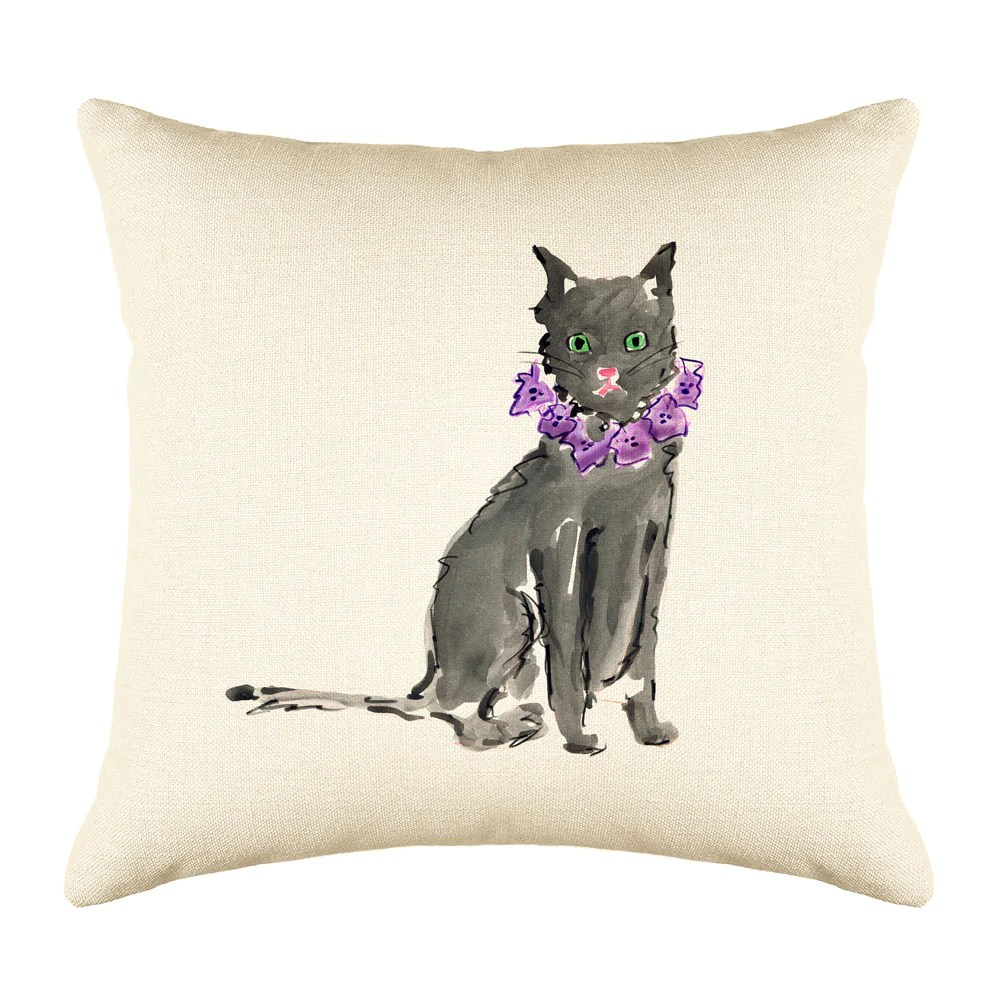 black cat throw pillow cover cat illustration throw pillow cover collection