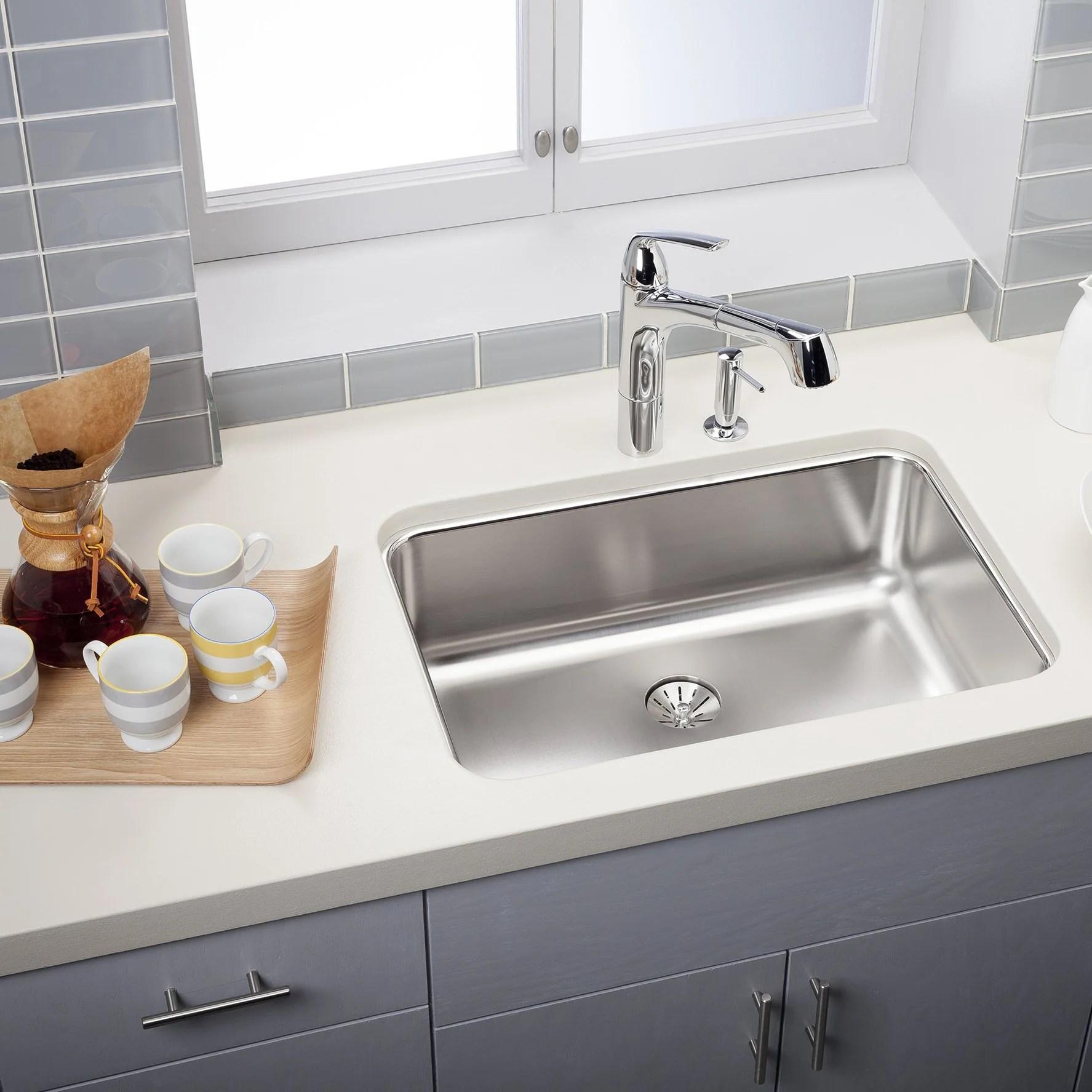 elkay eluh2416pd lustertone 26 5 single bowl 18 gauge undermount kitchen sink free shipping bath4all