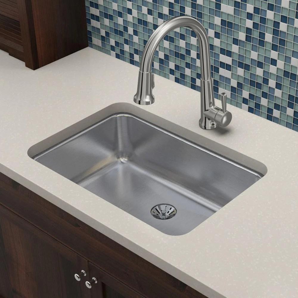 elkay eluh2416pd lustertone 26 5 single bowl 18 gauge undermount kitchen sink sku eluh2416pd