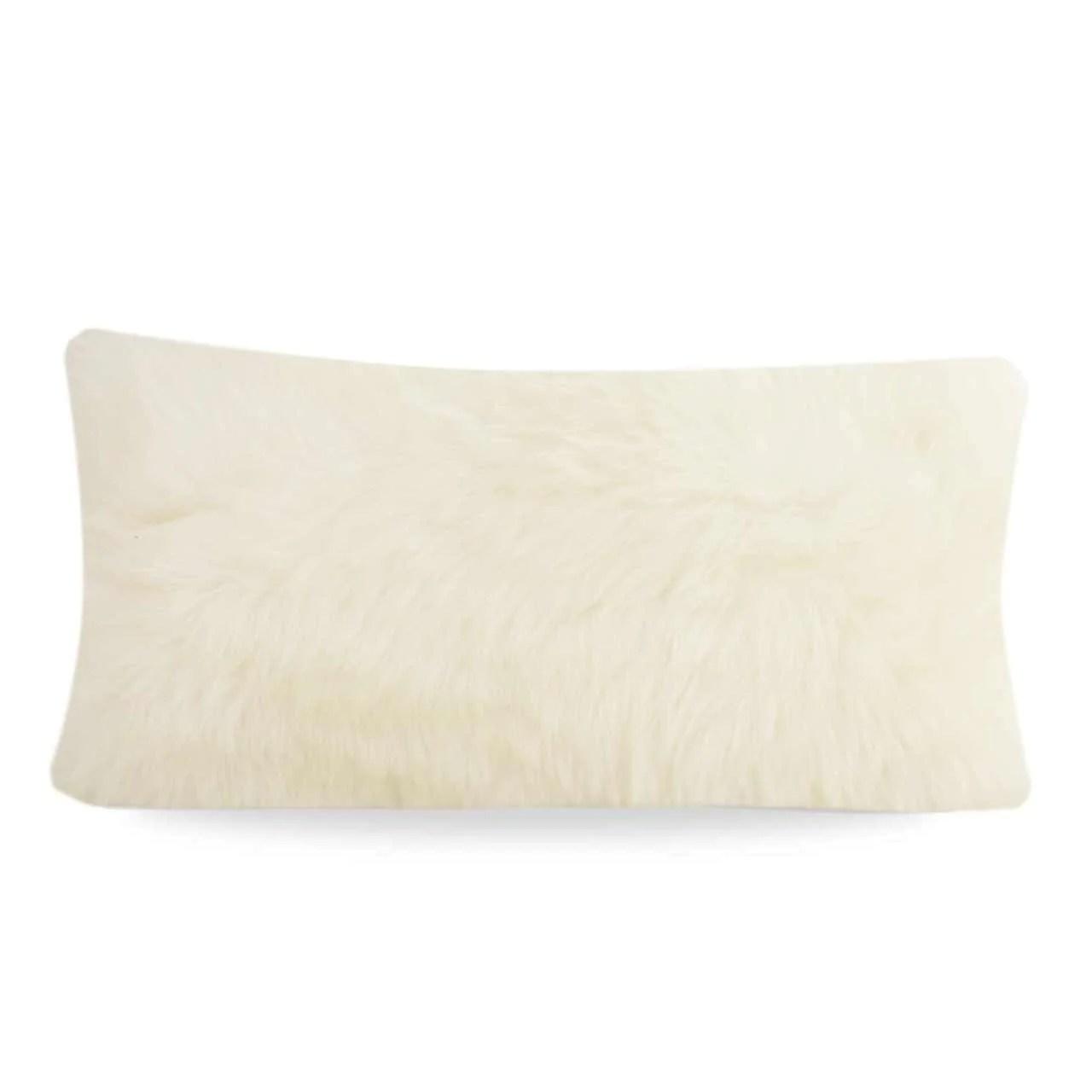 limited edition long wool sheepskin cushion small rectangle natural