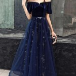 Elegant Blue Velvet Top Long Party Dress Prom Gowns 2020 Bemybridesmaid